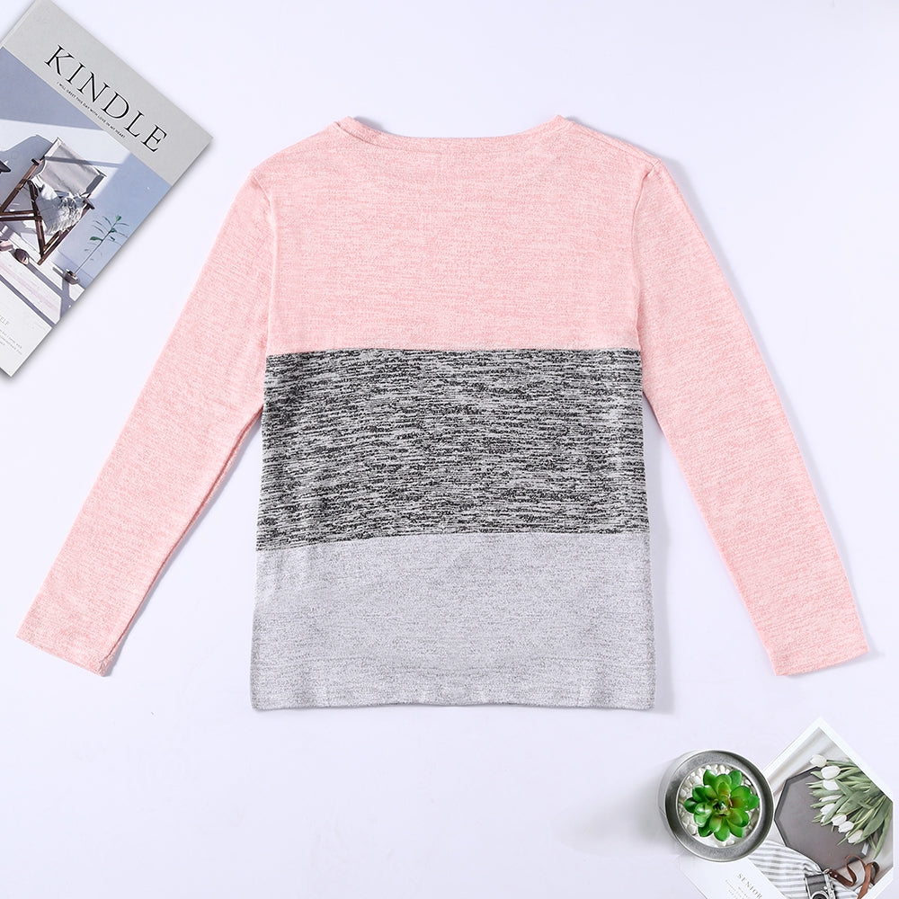Bat Sleeve Round Neck Loose Color Splice Women T-shirt Women's T-Shirts MULTI-C XL