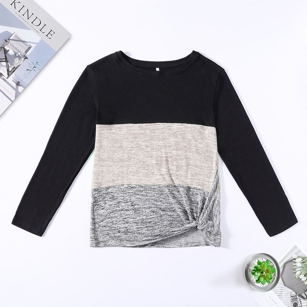 Bat Sleeve Round Neck Loose Color Splice Women T-shirt Women's T-Shirts MULTI-B 2XL