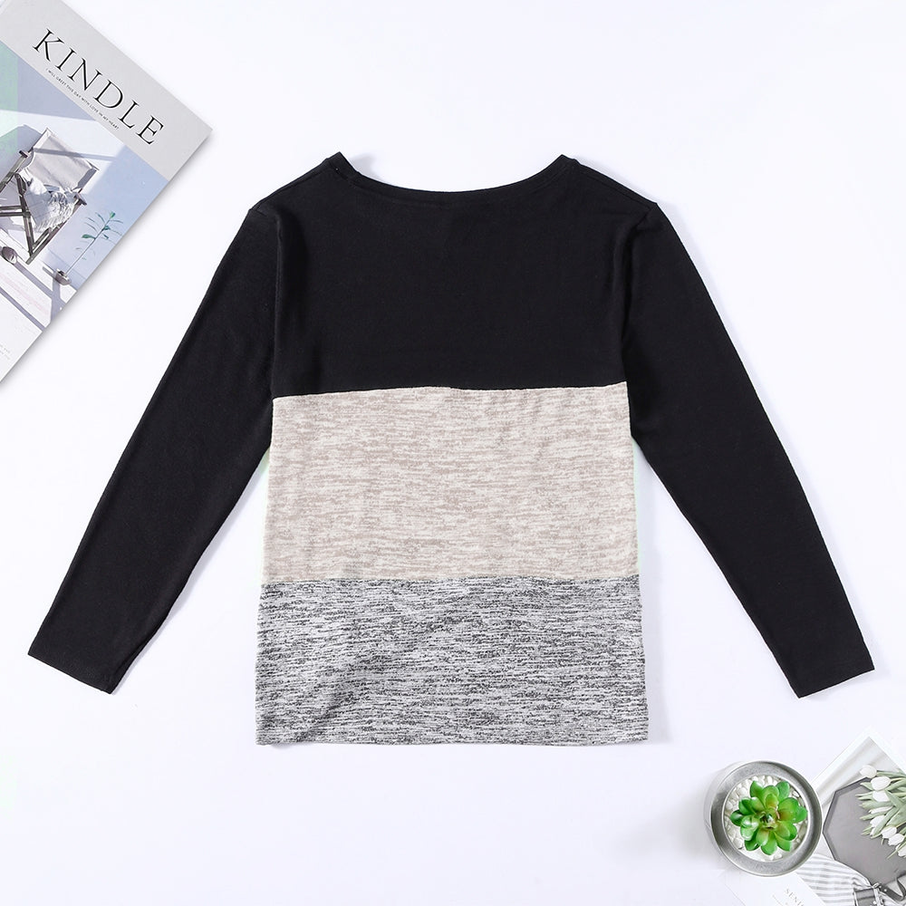 Bat Sleeve Round Neck Loose Color Splice Women T-shirt Women's T-Shirts MULTI-C S