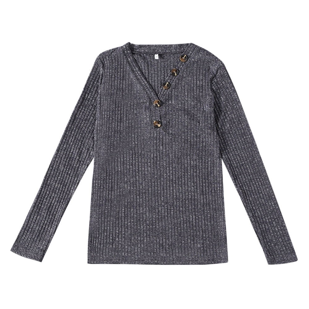 V-neck Button Pullover Sweater Long-sleeved Slim Stretch Solid Color Women's T-Shirts GRAY S