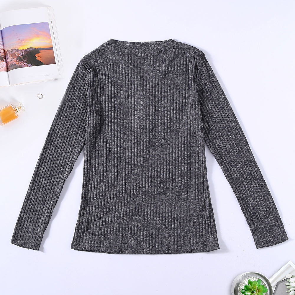 V-neck Button Pullover Sweater Long-sleeved Slim Stretch Solid Color Women's T-Shirts DARK GREEN 2XL