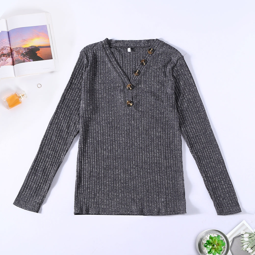 V-neck Button Pullover Sweater Long-sleeved Slim Stretch Solid Color Women's T-Shirts DARK GREEN XL