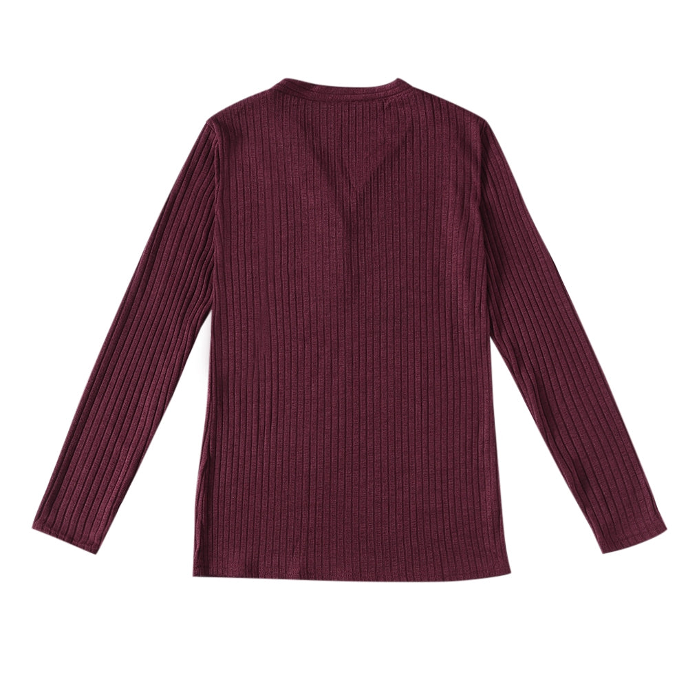 V-neck Button Pullover Sweater Long-sleeved Slim Stretch Solid Color Women's T-Shirts RED WINE 2XL