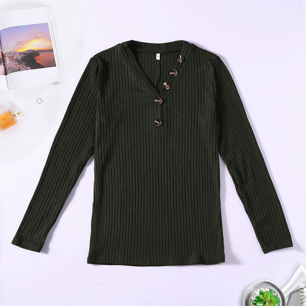 V-neck Button Pullover Sweater Long-sleeved Slim Stretch Solid Color Women's T-Shirts RED WINE M