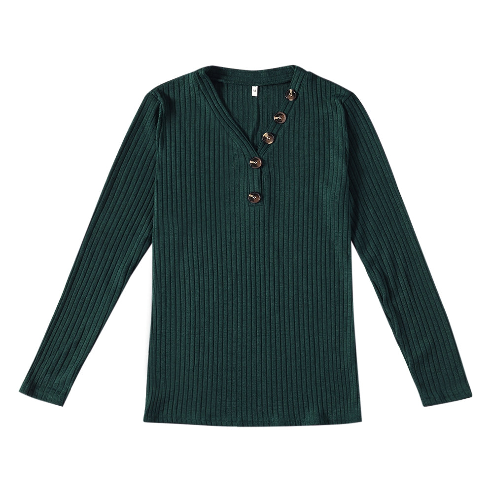 V-neck Button Pullover Sweater Long-sleeved Slim Stretch Solid Color Women's T-Shirts MEDIUM SEA GREEN XL
