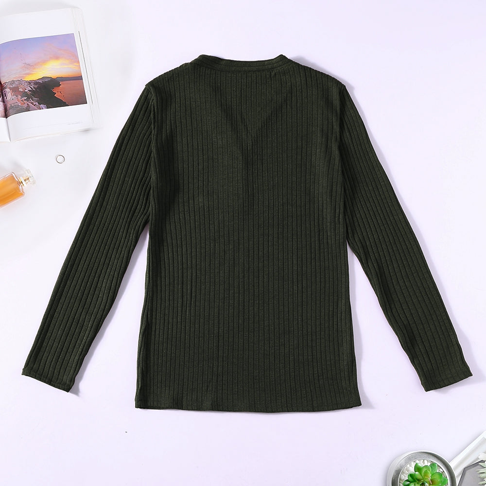 V-neck Button Pullover Sweater Long-sleeved Slim Stretch Solid Color Women's T-Shirts RED WINE L