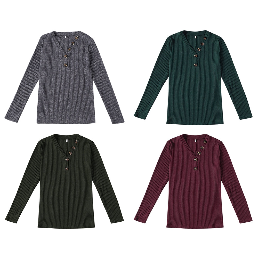 V-neck Button Pullover Sweater Long-sleeved Slim Stretch Solid Color Women's T-Shirts RED WINE XL