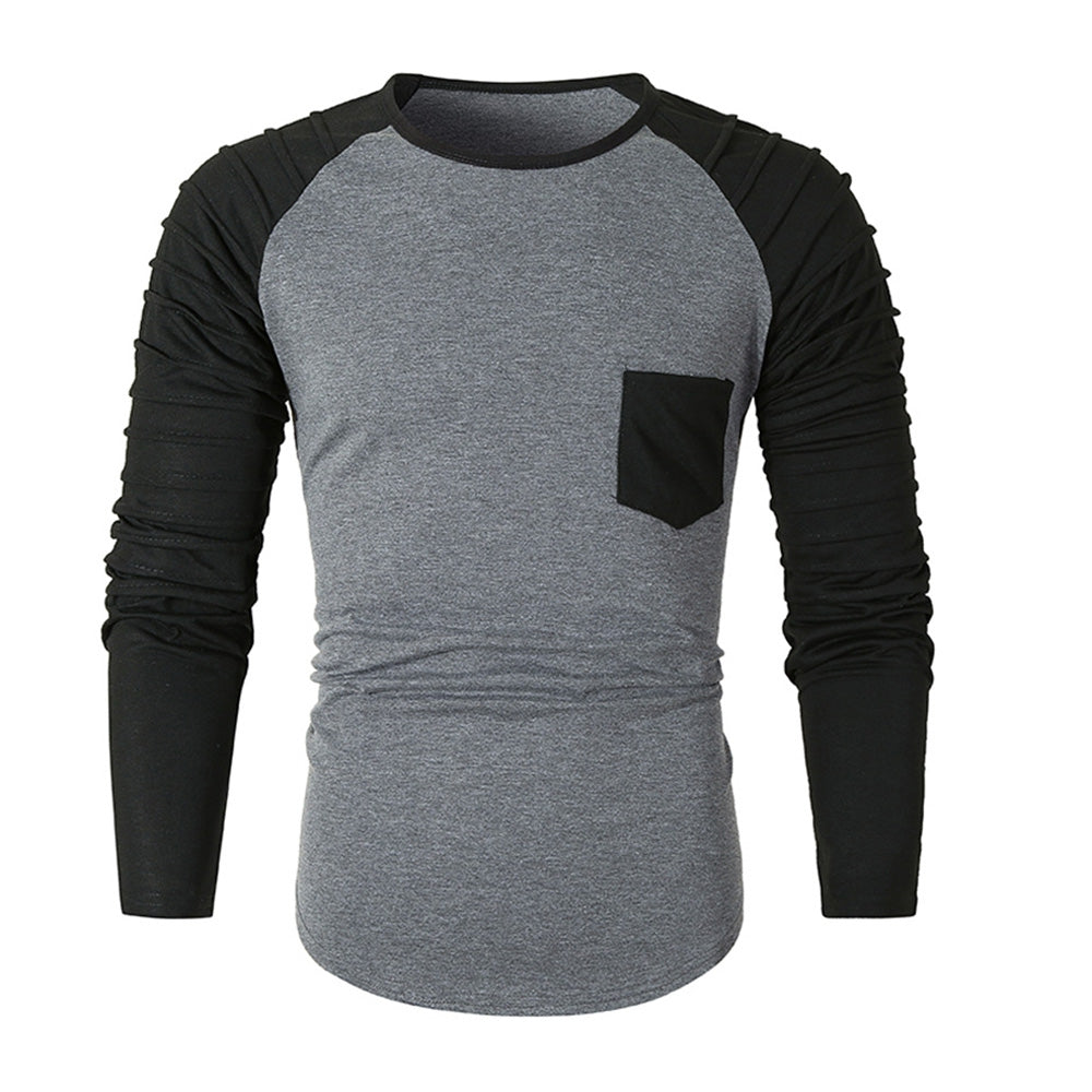 Pleated Sleeve Color Blocking Spliced T-shirt Men's Shirts DARK GRAY L