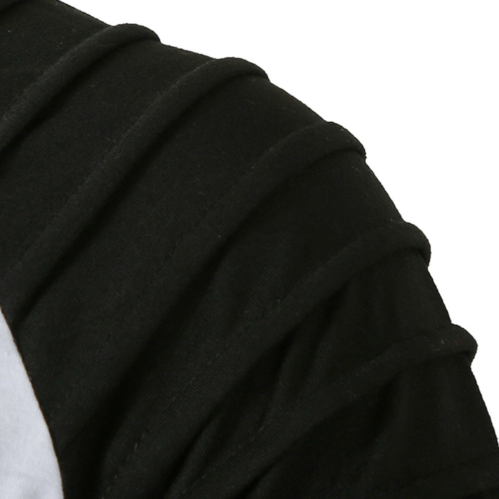Pleated Sleeve Color Blocking Spliced T-shirt Men's Shirts BLACK L