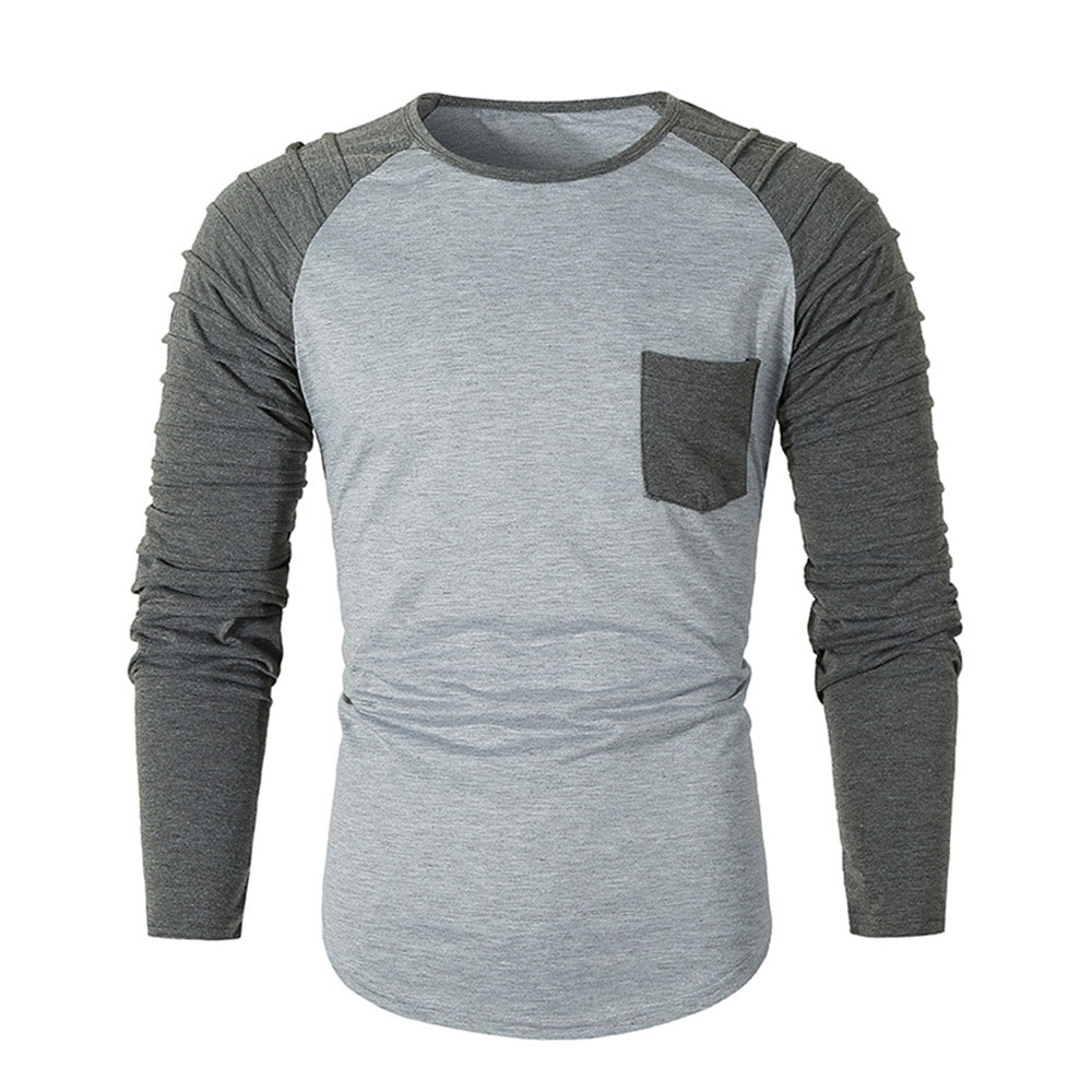 Pleated Sleeve Color Blocking Spliced T-shirt Men's Shirts DARK GRAY XL