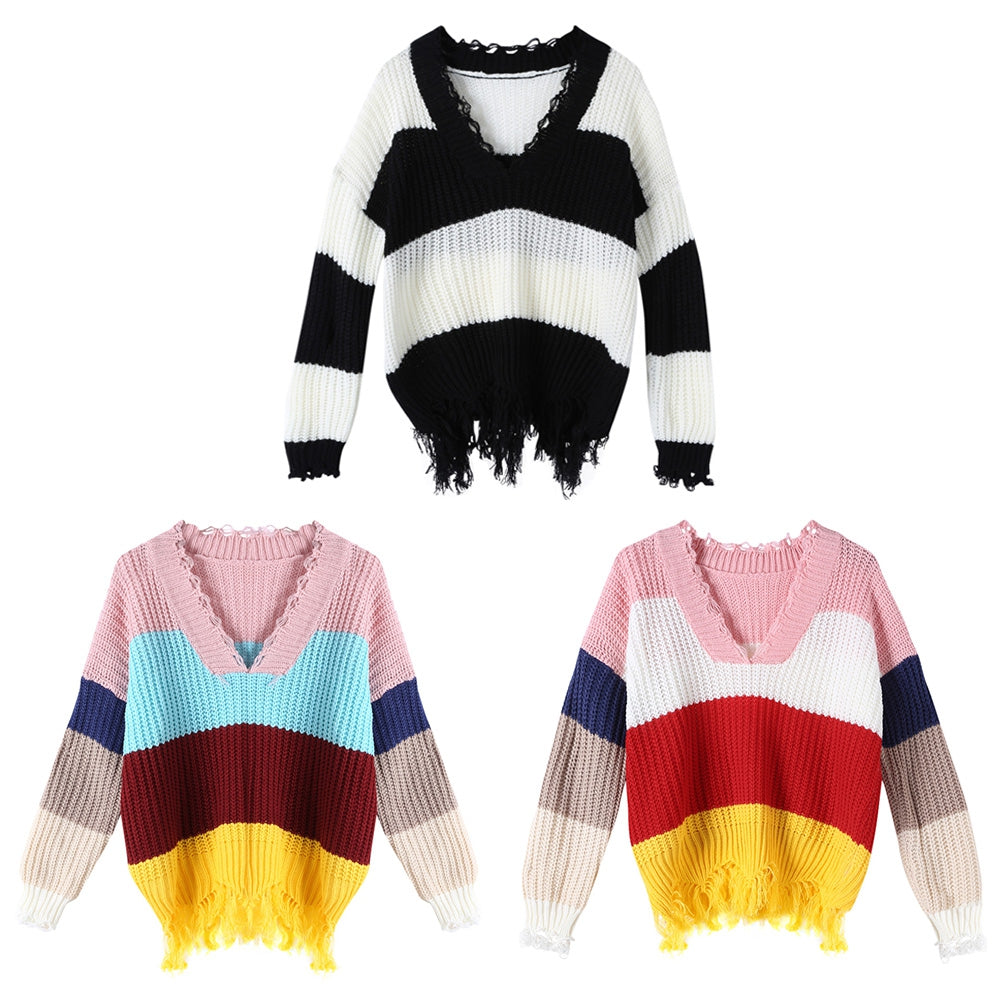 V-neck Sweater Color Blocking for Women
