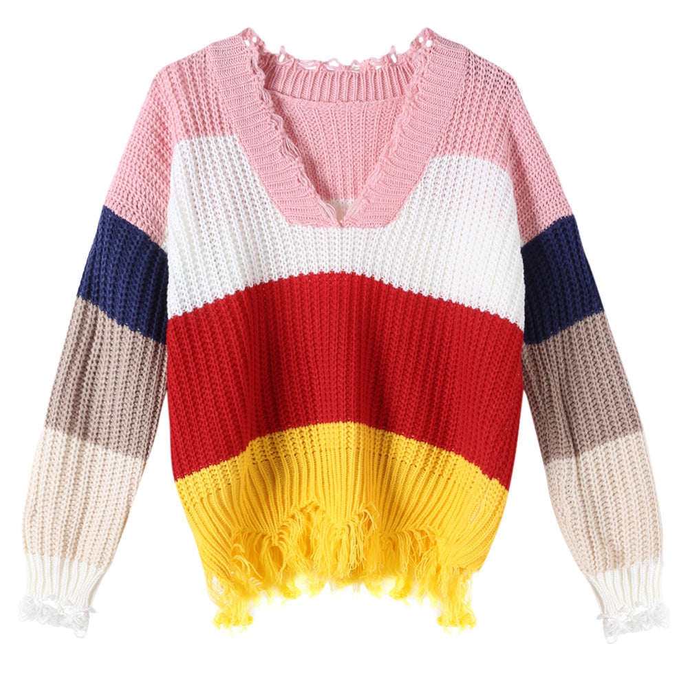 V-neck Sweater Color Blocking for Women Women's Sweaters MULTI-C ONE SIZE