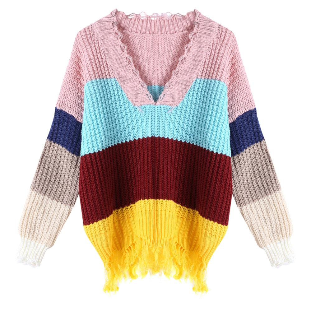 V-neck Sweater Color Blocking for Women Women's Sweaters MULTI-B ONE SIZE