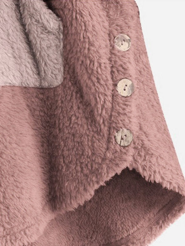 Front Pocket Fluffy Faux Shearling Plus Size Hoodie Women's Hoodies & Sweatshirts PINK 4X