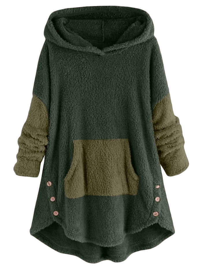 Front Pocket Fluffy Faux Shearling Plus Size Hoodie Women's Hoodies & Sweatshirts GREEN 5X