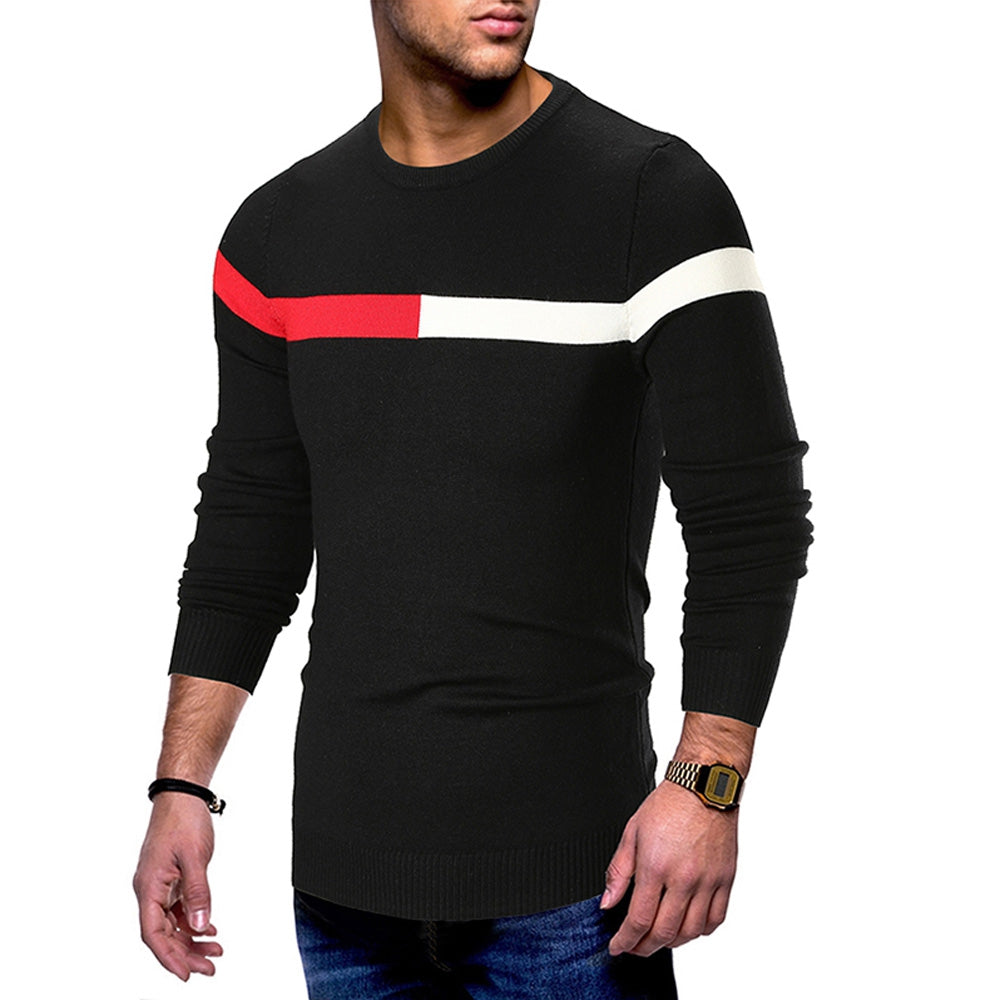 Color Spliced Casual Long Sleeve Sweater Men's Pullovers BLACK M
