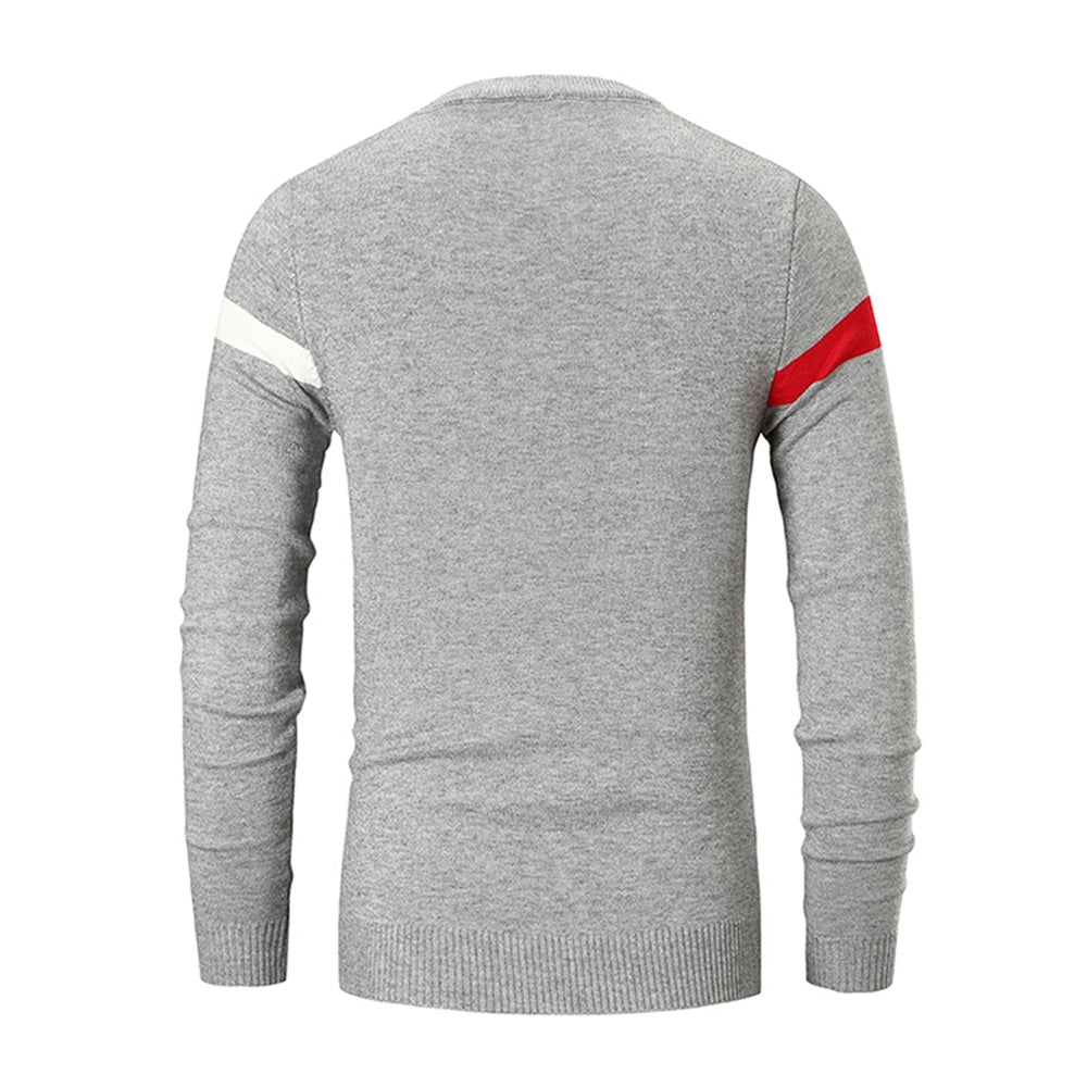 Color Spliced Casual Long Sleeve Sweater Men's Pullovers COFFEE L