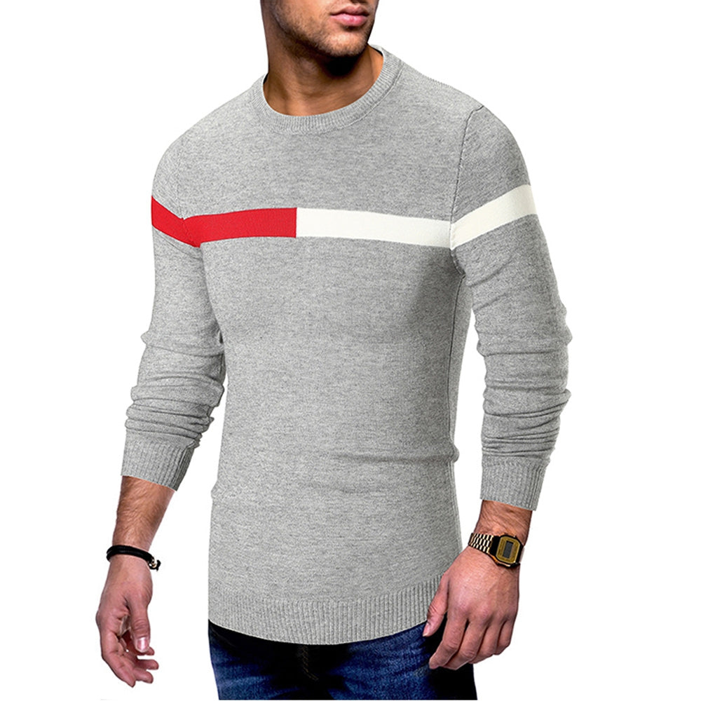 Color Spliced Casual Long Sleeve Sweater Men's Pullovers BLACK 2XL