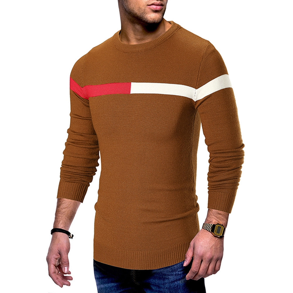 Color Spliced Casual Long Sleeve Sweater Men's Pullovers GRAY 2XL