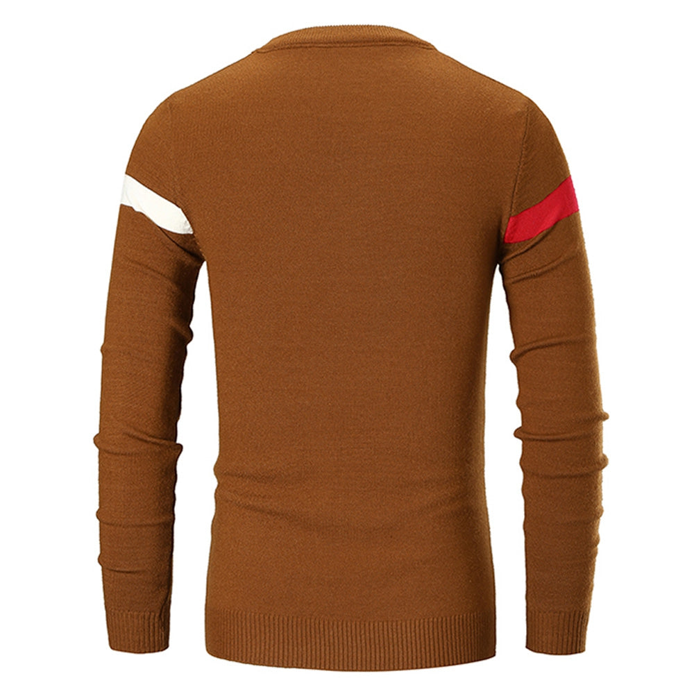 Color Spliced Casual Long Sleeve Sweater Men's Pullovers GRAY L