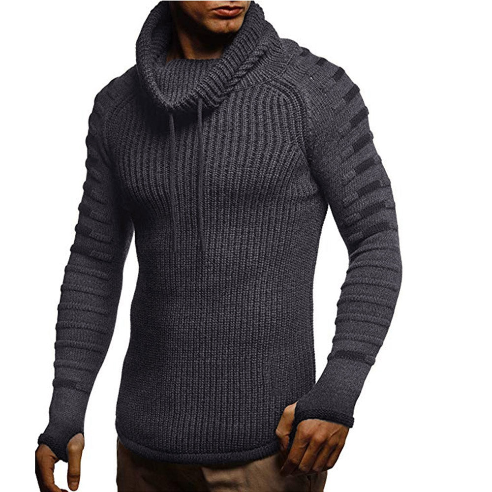 Raglan Sleeve Contrast Color Cowl Neck Sweater Men's Pullovers DARK GRAY M
