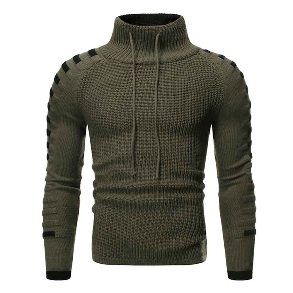 Raglan Sleeve Contrast Color Cowl Neck Sweater Men's Pullovers DARK GRAY L