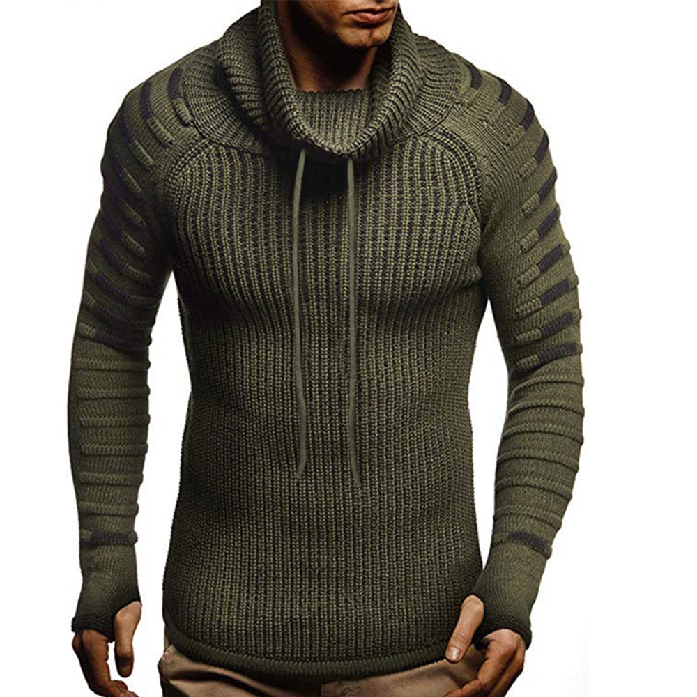 Raglan Sleeve Contrast Color Cowl Neck Sweater Men's Pullovers DARK GRAY 2XL