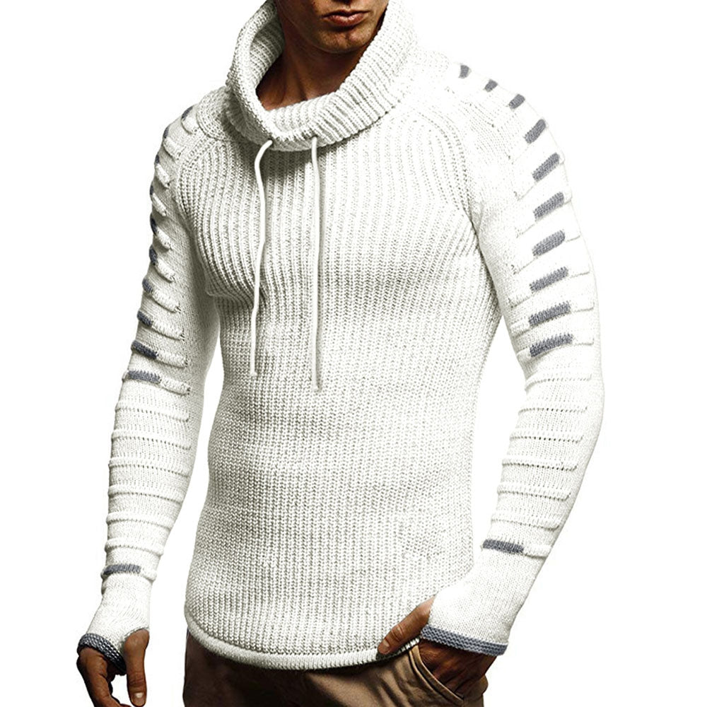 Raglan Sleeve Contrast Color Cowl Neck Sweater Men's Pullovers WHITE L