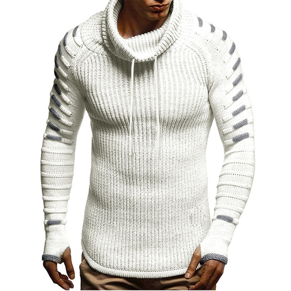 Raglan Sleeve Contrast Color Cowl Neck Sweater