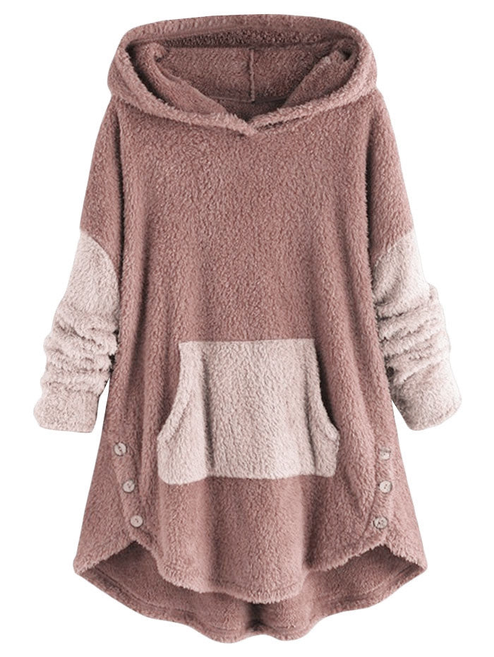 Front Pocket Fluffy Faux Shearling Plus Size Hoodie Women's Hoodies & Sweatshirts PINK L