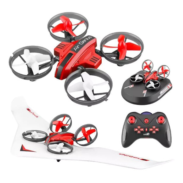 L6082 DIY All In One Air Genius Drone 3-Mode with Fixed Wing Glider RC Quadcopter RTF RED RC Airplanes