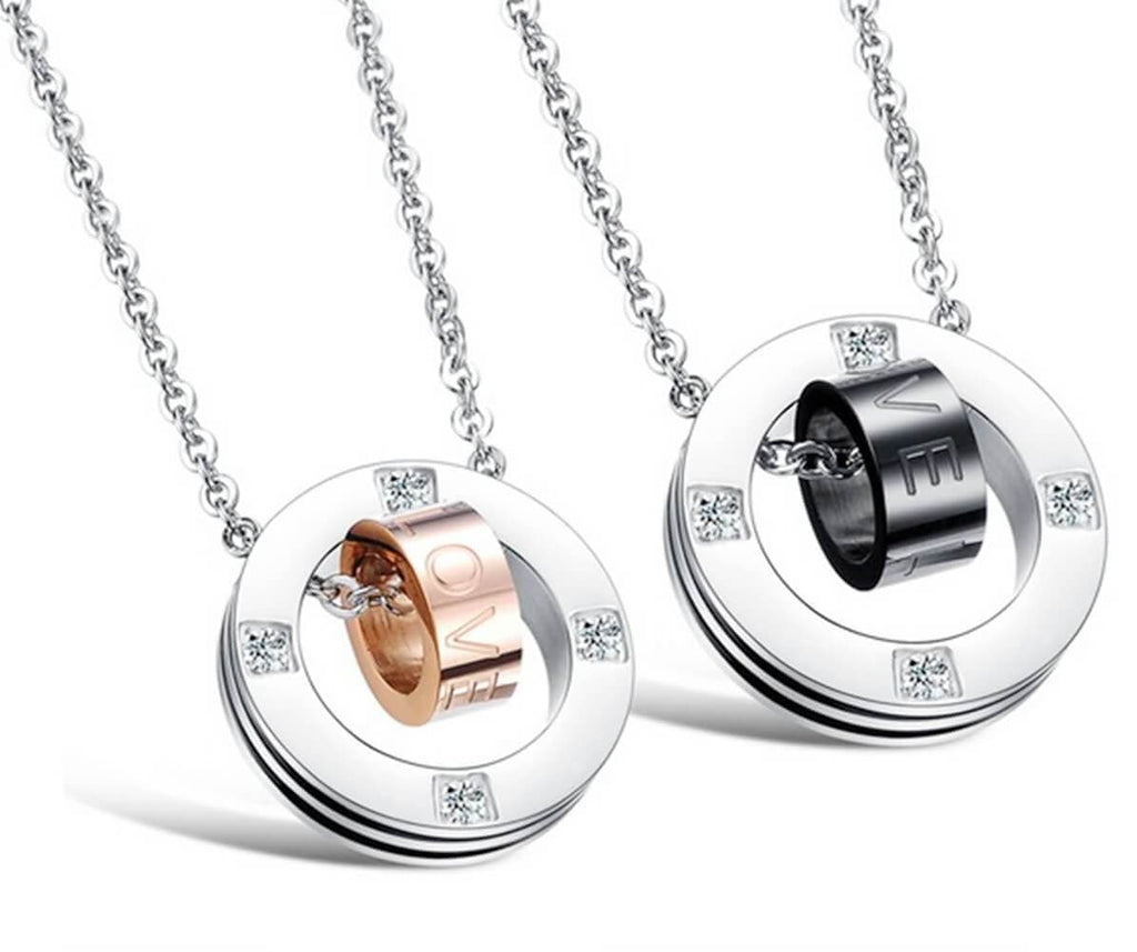 Stainless Steel Women Men Necklace Couple Rings Pendant Love Words Crystal