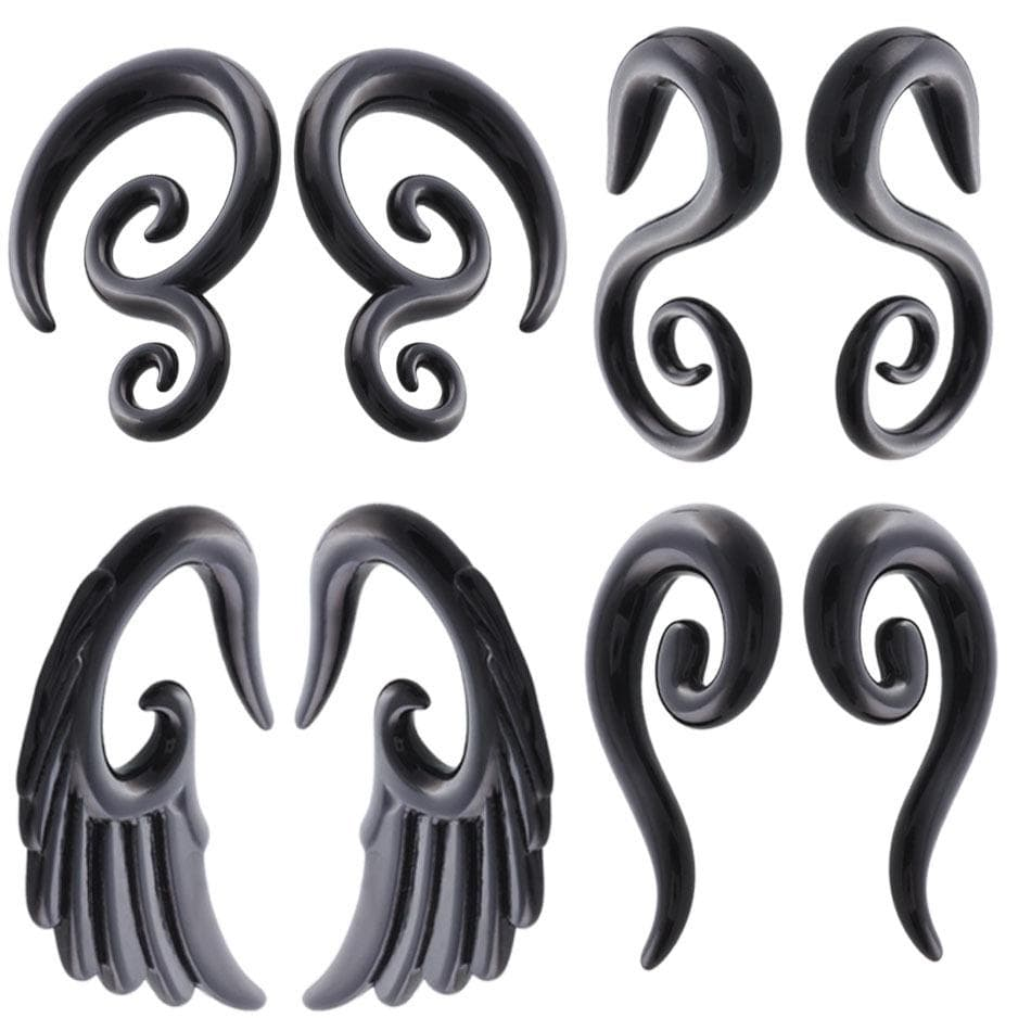 Black Acrylic UV Ear Plugs Spiral Ear Tapers Gauges Expanders Earring Stretcher Piercing Body Jewelry