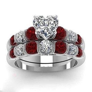 Wedding Rings Sets White Gold Plated Engagement Ring Bridal Sets Men Tungsten Carbide Red Stones