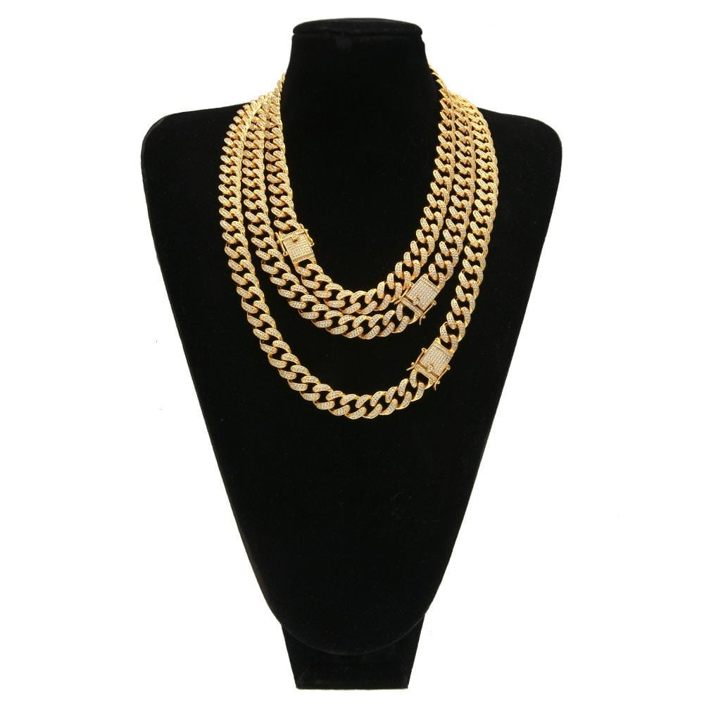 Men Gold Chain Cuban Gold Plated Crystal Miami Link Chain Silver 1.25CM