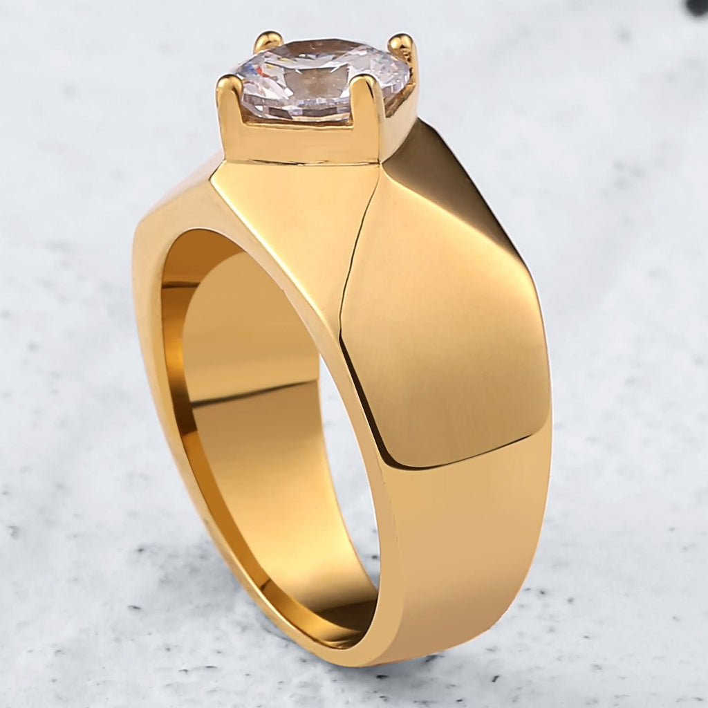 Men Rings Gold Stainless Steel Polished Rhombus 10MM Silver Size 7-12