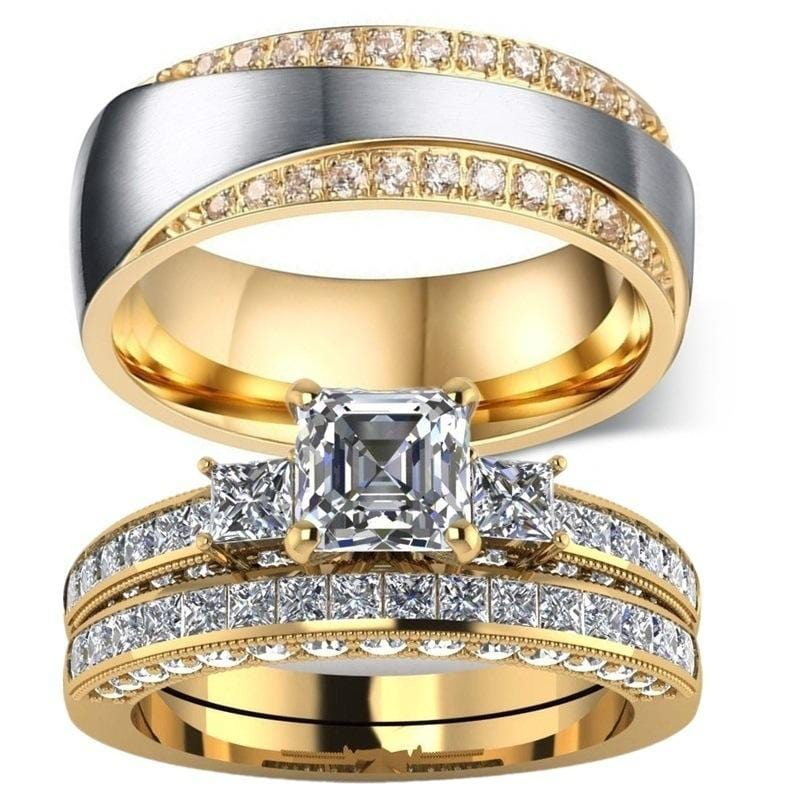 Couple Rings Yellow Gold Filled Heart Cz Stone Womens Wedding Ring Sets Titanium Men's Band