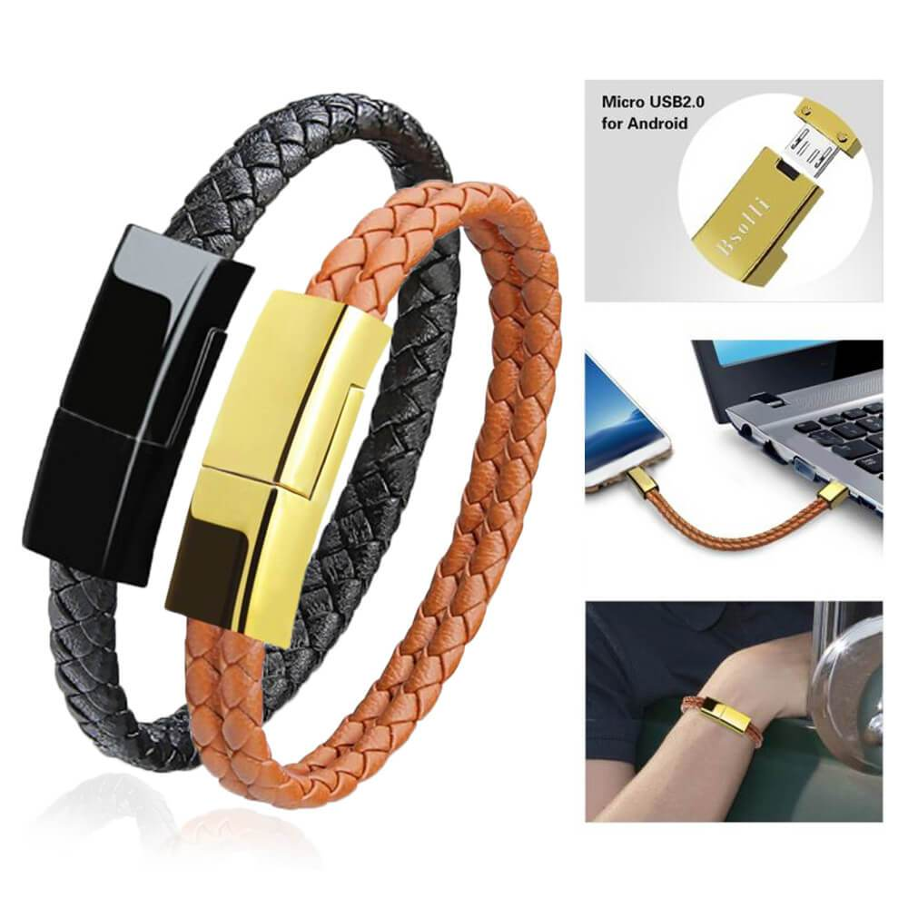 USB Cable Charger Cable Compatible with Iphone Android Type-C USB Bracelet Leather