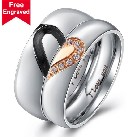 I Love You Wedding Rings Titanium Steel Heart Puzzle Matching Rings CZ