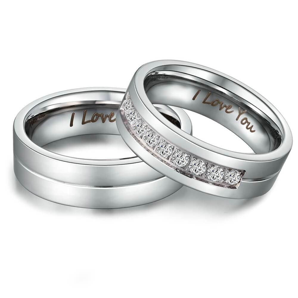 His & Hers I Love You Matching Rings Endless Love Stainless Steel 9 CZ