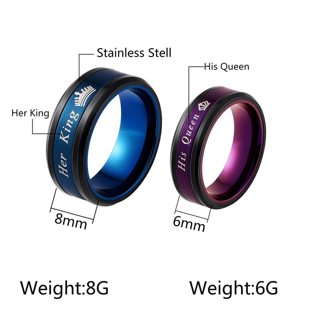 Her King His Queen Rings for Men Women Stainless Steel Crown Bridal Gifts
