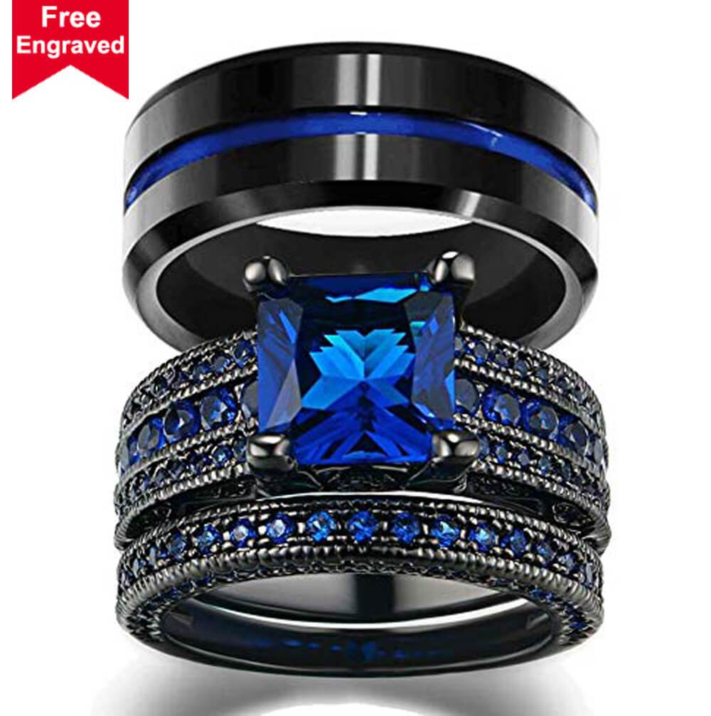 Wedding Ring Sets Women 10K Black Gold Filled Blue Cz Engagement Ring Bridal Men's Stainless Steel