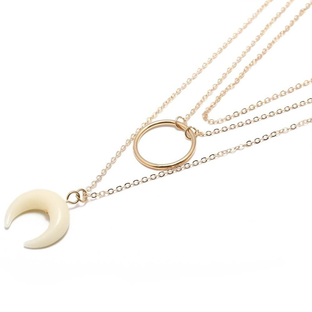 Triple Layers Necklace 14K Gold Minimalist Necklace Choker Moon Circle Pendant Chain