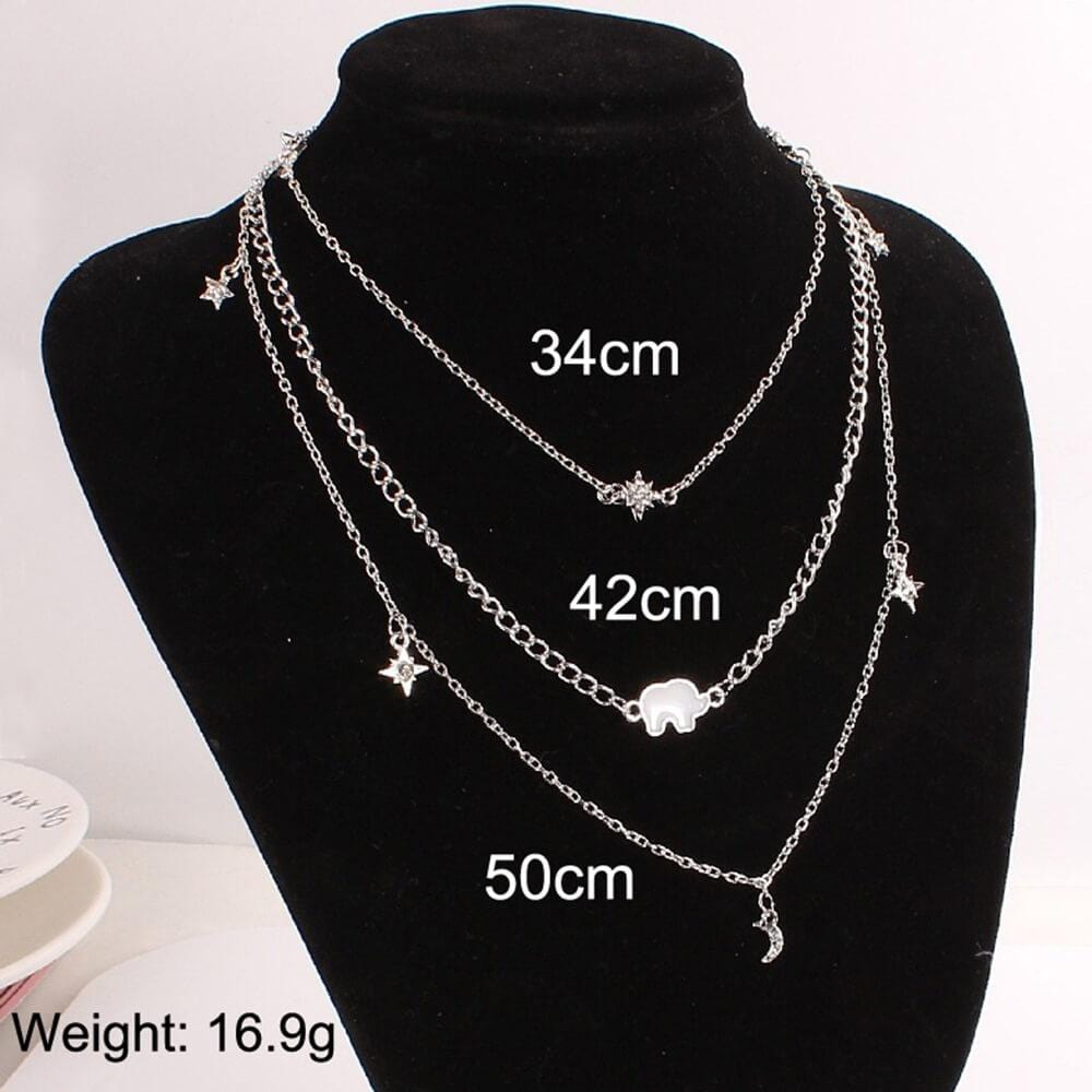 Multi Strand Necklace Gold Choker Elephant Pendant Moon Star Charms Layer Necklace