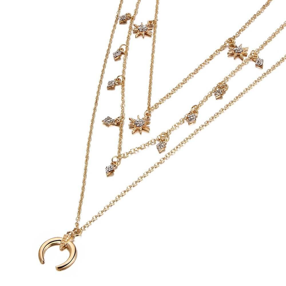 Moon Multi-layer Necklace Gold Star Charm Minimalist Necklace Triple Layering Necklace Set