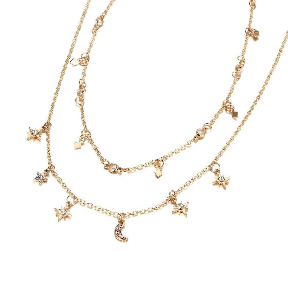Double Layered Choker Moon Star Charms Layering Necklace Set Clavicular Chain