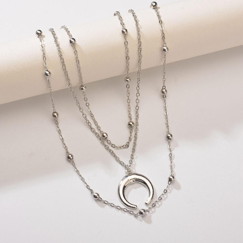 Satellite Chain Necklace Minimalist Silver Moon Layering Necklace Set Boho Chic Jewelry