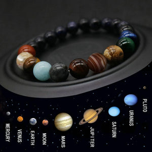 Eight Planets Bead Bracelet Men Natural Stone Universe Yoga Chakra Solar Bracelet for Women Jewelry