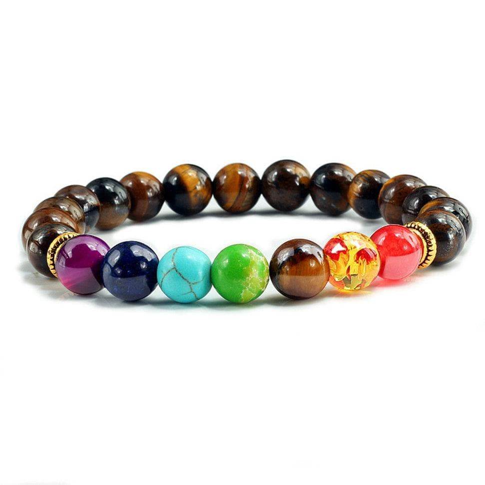 Natural Stone Tiger Eye 7 Chakra Bracelets Bangles Yoga Balance Beads Elastic Bracelet Men