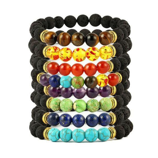 Buddha Bless Weight Lose Chakra Bracelet Black Lava Healing Balance Beads Natural Stone Bracelet Women